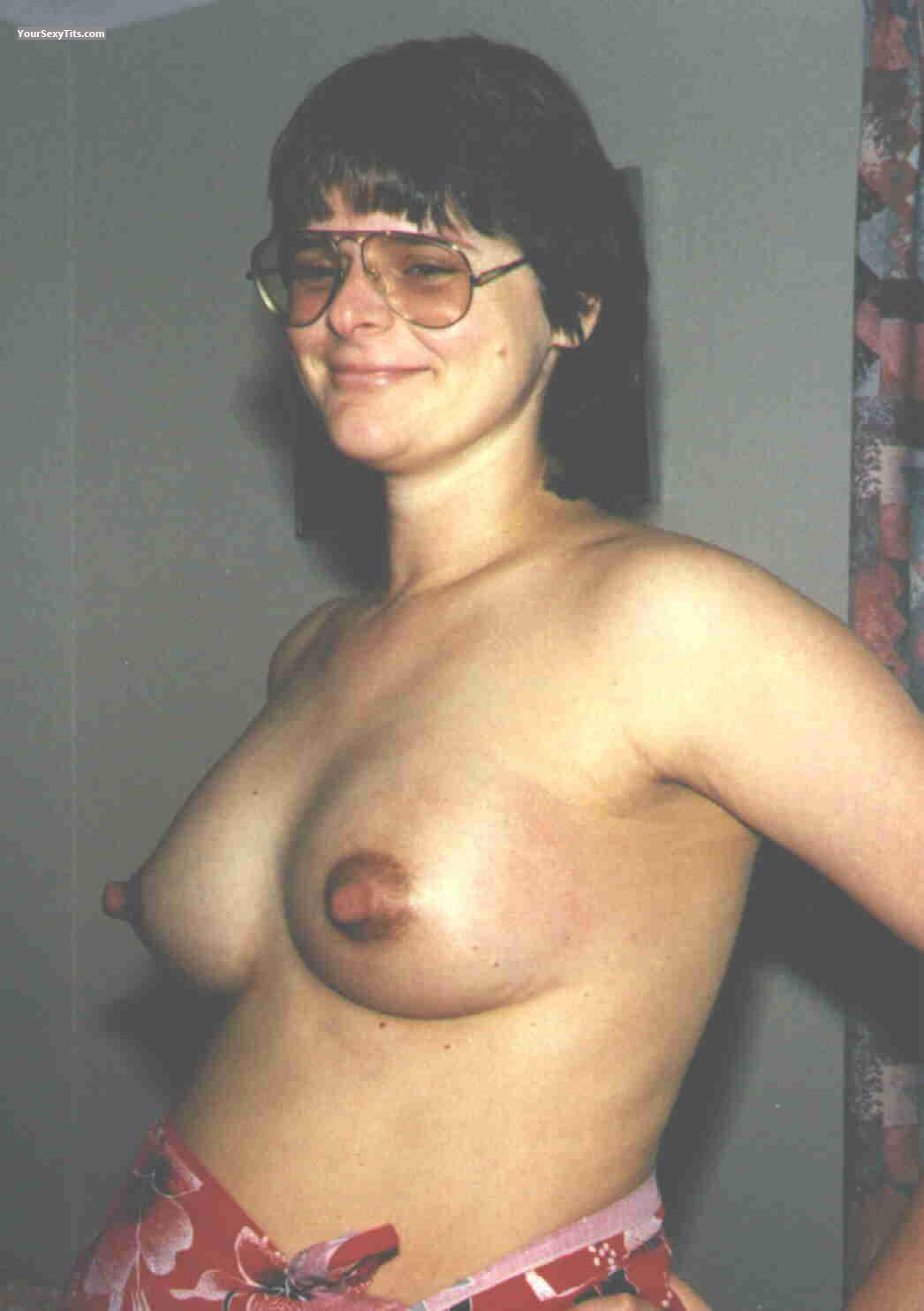 Tit Flash: Wife's Small Tits - Topless Karen from Australia